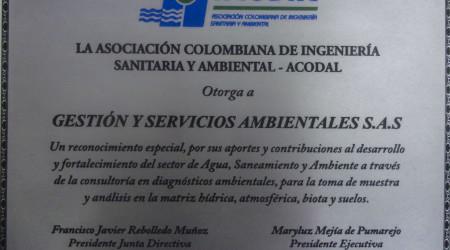 Entrega de reconocimiento de ACODAL a GSA